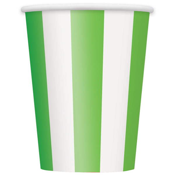 Green and White Stripes Paper Cups 354ml - Pack of 6