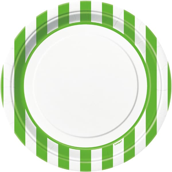 Green and White Stripes Theme Paper Plate 22cm / 9Inch