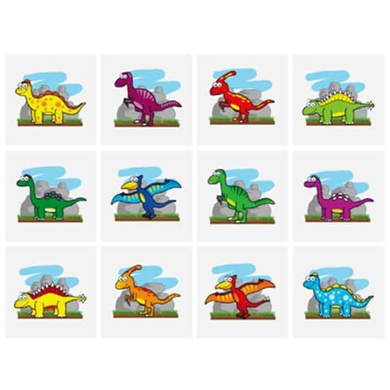 Mini Dinosaur Tattoo Stickers - Pack of 12