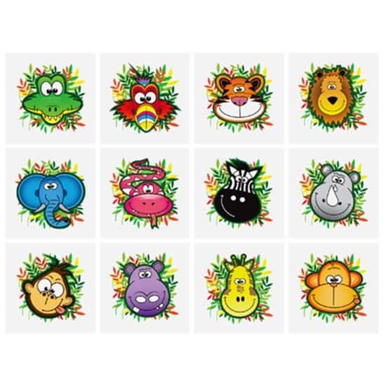 Mini Jungle Tattoo Stickers - Pack of 12