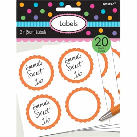 Orange Scalloped Sticker Labels - Pack of 20 Product Image