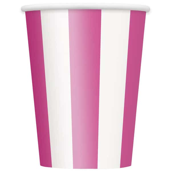 Pink and White Stripes Paper Cup - 12oz / 355ml Product Image