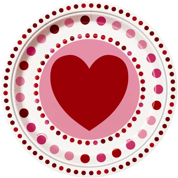 Radiant Hearts Round Paper Plate 22cm