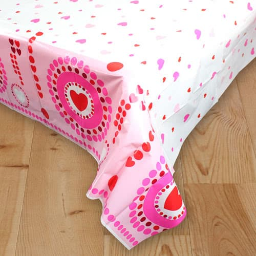 Radiant Hearts Plastic Tablecover 213cm x 137cm