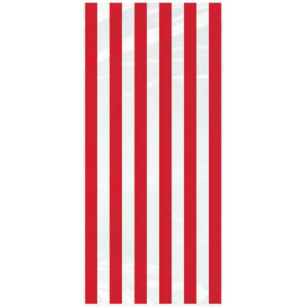 Red and Clear Stripes Plastic Gift Bags with Twist Ties - Pack of 20 Product Image