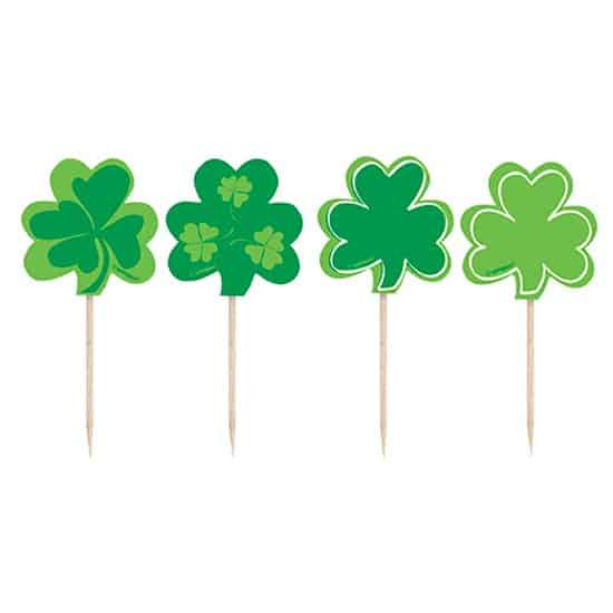 St Patricks Day Clover Plastic Food Picks - Pack of 8 Product Image