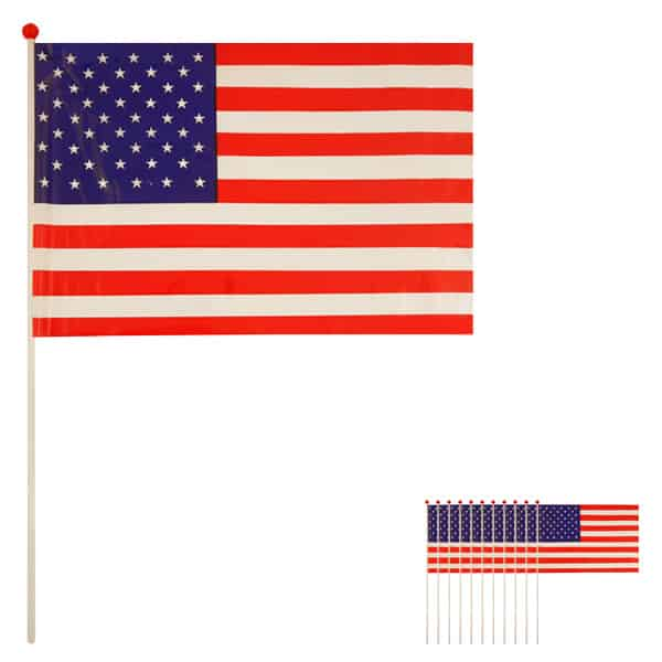 United States Hand-held Waving Flag - 12 x 7 Inches / 30 x 17cm - Pack of 12