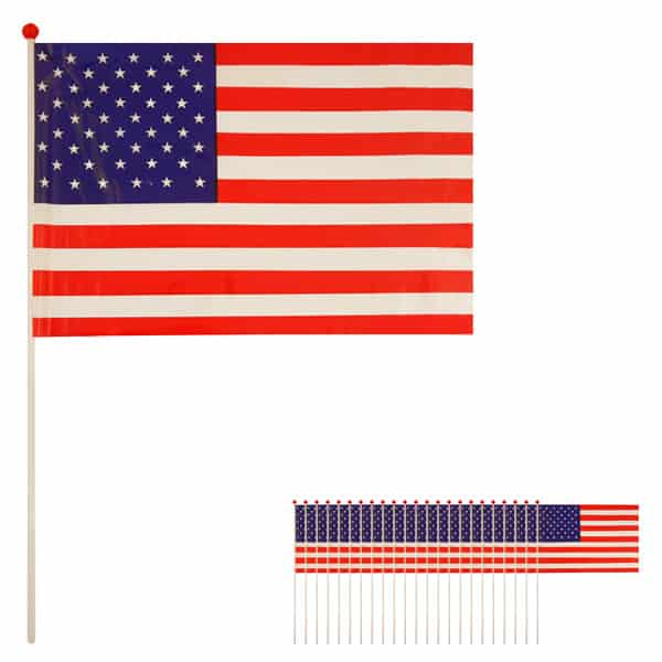 United States Hand-held Waving Flag - 12 x 7 Inches / 30 x 17cm - Pack of 25