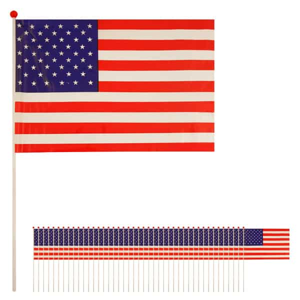 United States Hand-held Waving Flag - 12 x 7 Inches / 30 x 17cm - Pack of 50