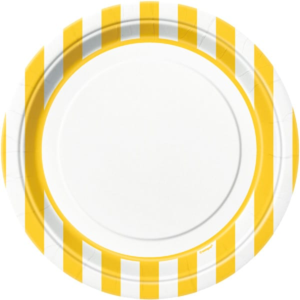 Yellow and White Stripes Paper Plates 22cm - Pack of 8