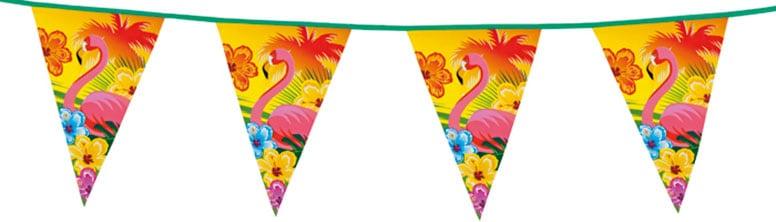 Aloha Flamingo Triangle Plastic Bunting - 6m