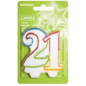 Glitter 21st Birthday Shape Candle