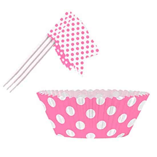 hot-pink-decorative-dots-cupcake-decorations-kit