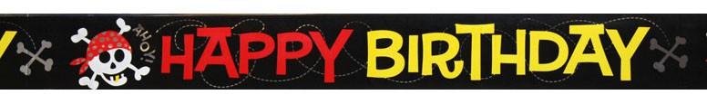 Pirate Fun 'Happy Birthday' Foil Banner - 12 Ft / 366cm