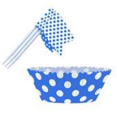 Royal Blue Decorative Dots Cupcake Decorating Kit – Pack of 24