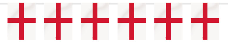 England St George Plastic Flag Bunting - 10 m / 32Ft with 21 flags