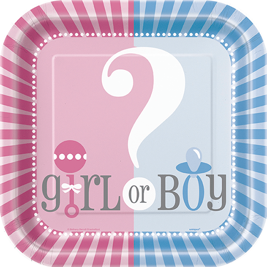 Gender Reveal Theme Square Paper Plates 22cm - Pack of 8