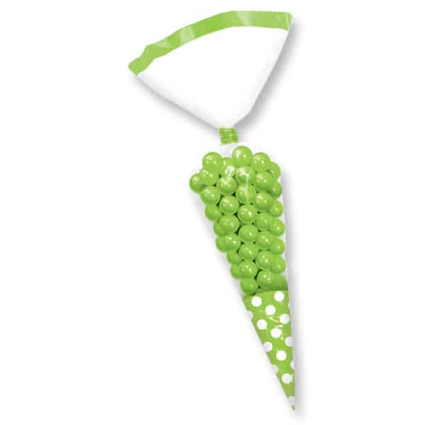 Green Cone Polka Dots Gift Bags - Pack of 10