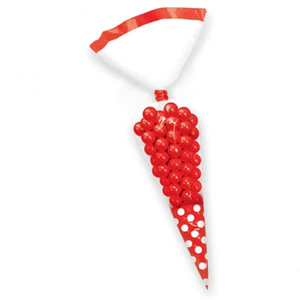 Red Cone Polka Dots Gift Bags - Pack of 10