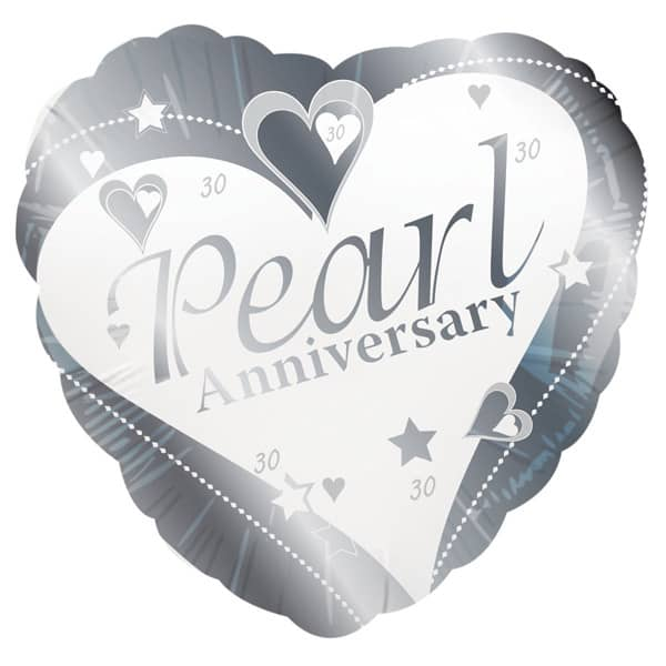 Pearl Wedding Anniversary Heart Shaped Foil Helium Balloon 46cm / 18 Inches