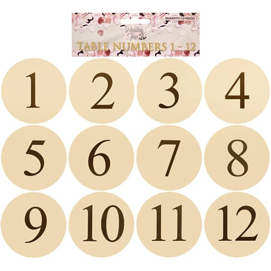 Ivory Round Table Card Numbers - Pack of 12