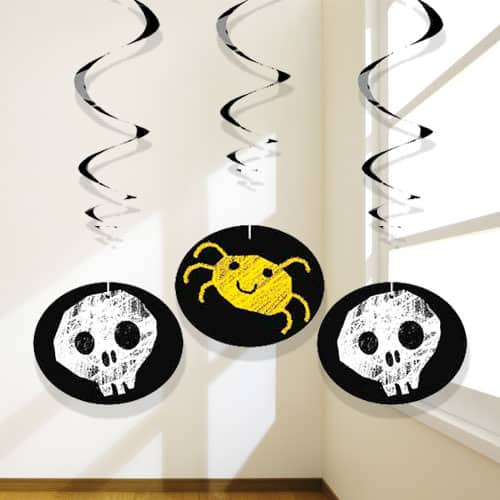 Halloween Checkered Hanging Swirl Decorations - Pack of 3