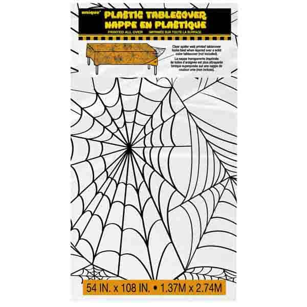 Halloween Clear Spider Web Plastic Tablecover - 137cm x 274cm