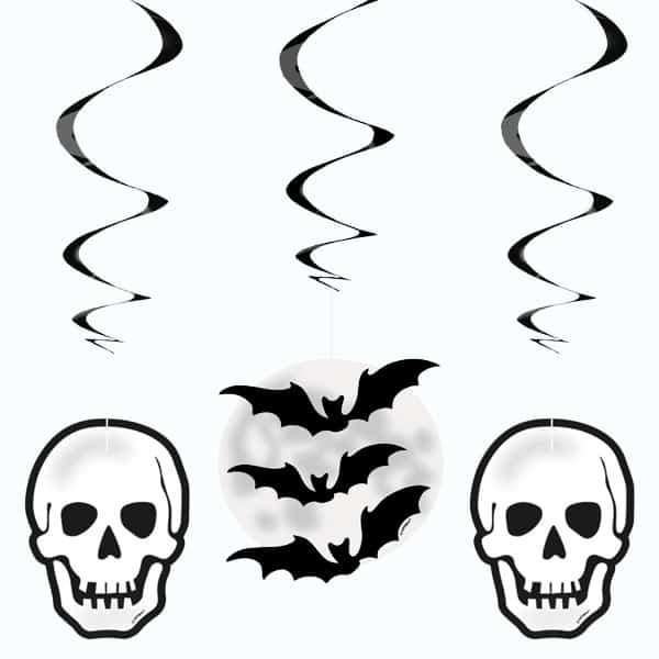Halloween Skull and Bats Hanging Swirl Decorations – Pack of 3