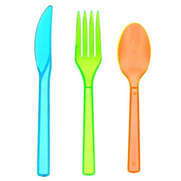 Assorted Neon Plastic Cutlery Set (16 Forks 16 Knives and 16 Spoons)
