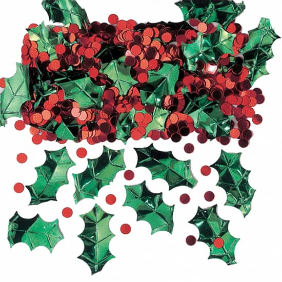 christmas-holly-with-berries-table-confetti