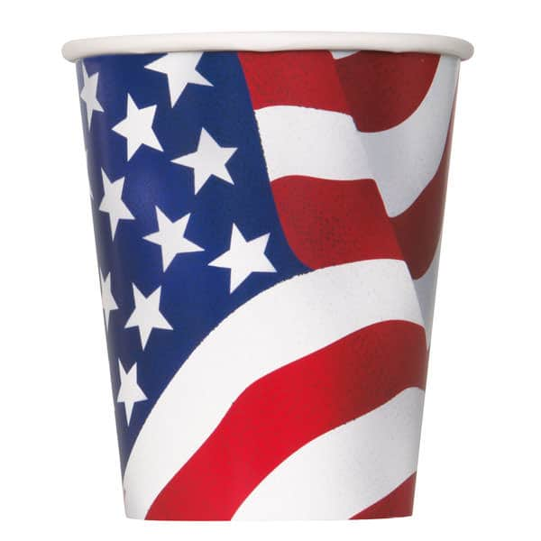 American Flag Paper Cups 266ml - Pack of 8
