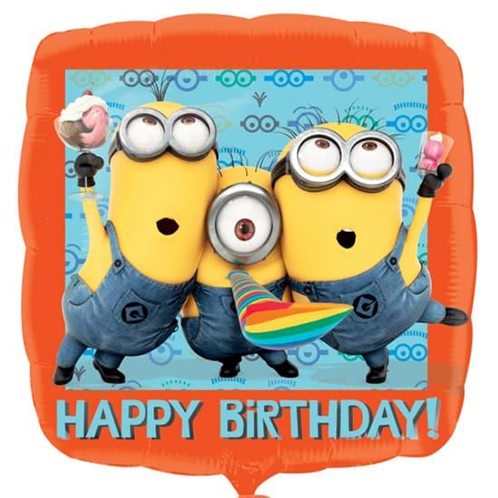 Despicable Me Minion Happy Birthday Square Foil Helium Balloon 43cm / 17Inch