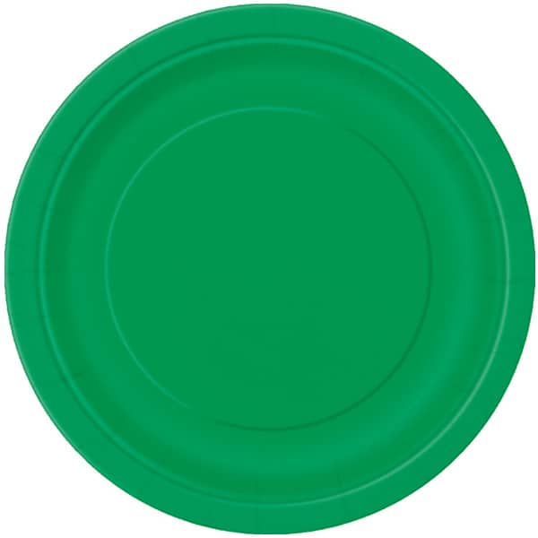 Emerald Green Round Paper Plates 22cm - Pack of 16