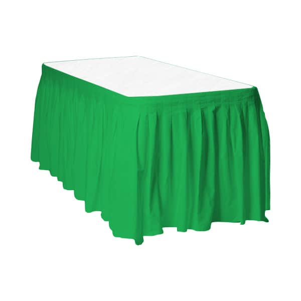 Emerald Green Plastic Table Skirt - 426cm x 73cm