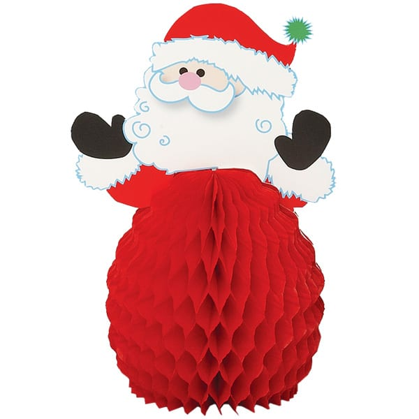 Santa Honeycomb Decorations - 6 Inches / 15cm - Pack of 4