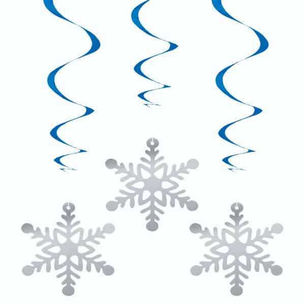 Snowflake Hanging Swirl Decorations - Pack of 3