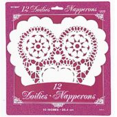White Heart Shaped Paper Doilies – 10 Inches / 25cm – Pack of 12
