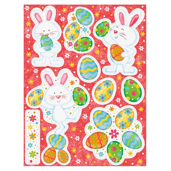 Happy Easter Bunny Window Cling Sheet Decorations