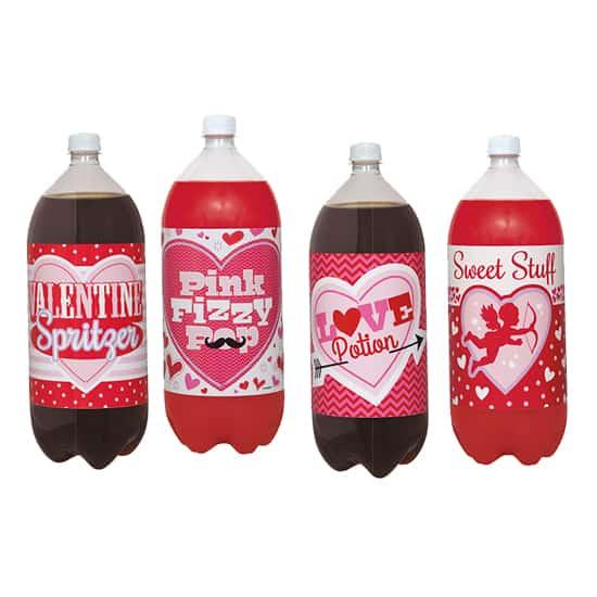 Valentines 2 Litre Bottle Labels - Pack of 4