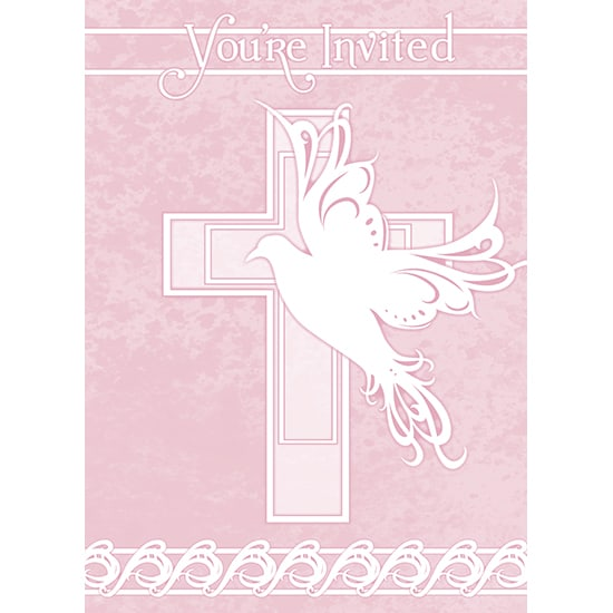 Pink Dove Cross Invitations with Envelopes - Pack of 8