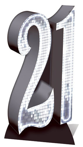 Silver Number 21 Lifesize Cardboard Cutout - 185cm Product Gallery Image