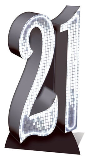 Silver Number 21 Lifesize Cardboard Cutout - 185cm