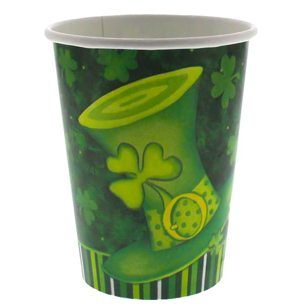 St Patricks Day Lucky Stripes Paper Cup - 9oz / 266ml