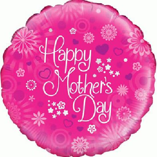 Happy Mothers Day Pink Round Foil Helium Balloon 46cm / 18Inch