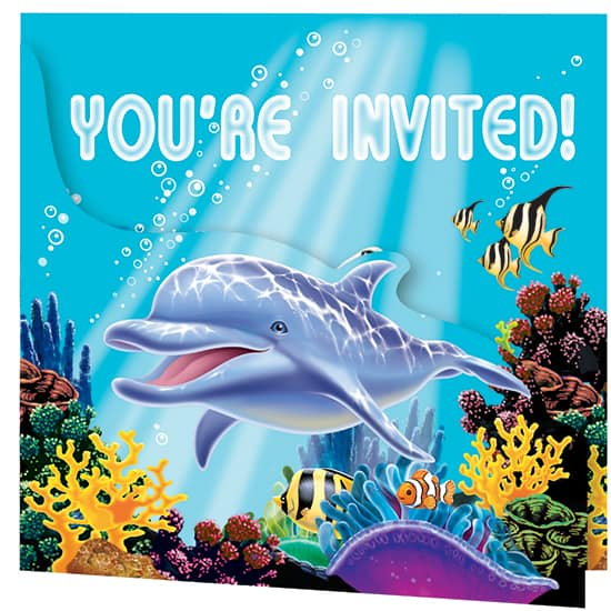 Ocean Party Invitations with Envelopes – Pack of 8 Product Image