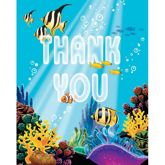 Ocean Party Thank You Cards with Envelopes - Pack of 8