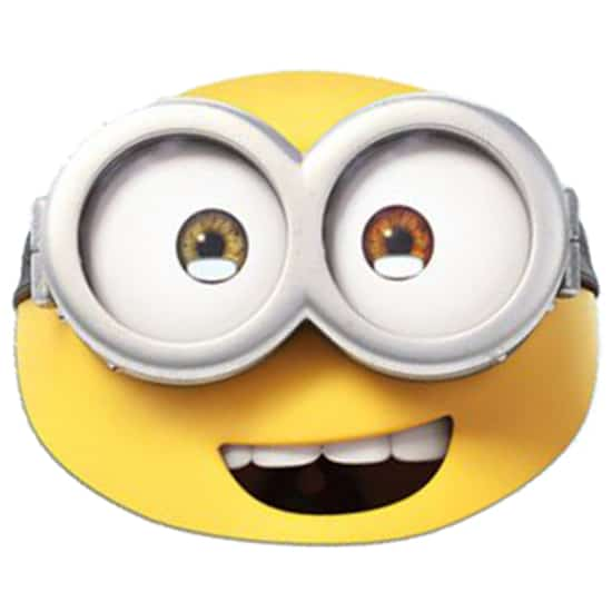 Minions the movie bob cardboard face mask partyrama for Minion mask template