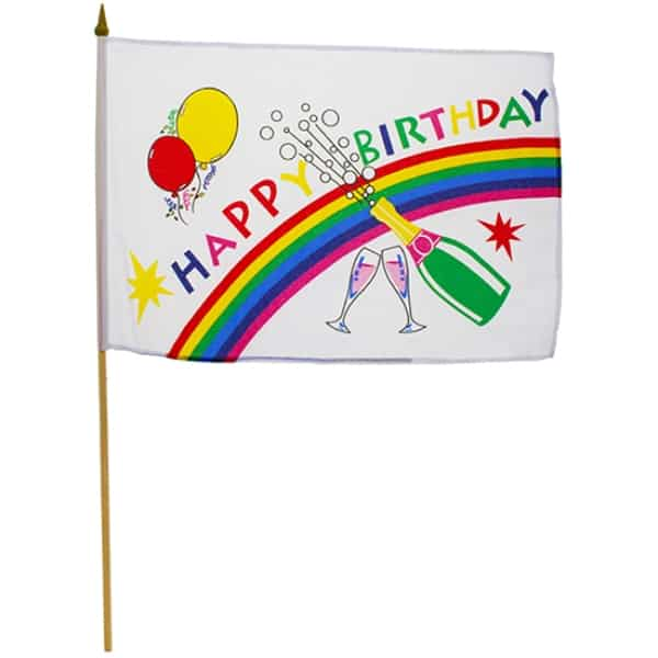 Happy Birthday Hand-Held Waving Flag - 11.5 x 18 Inches / 30 x 45cm Product Image
