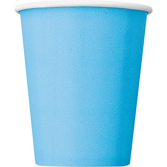 Powder Blue Paper Cups 270ml - Pack of 14