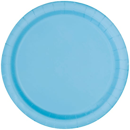 Powder Blue Round Paper Plates 22cm - Pack of 16